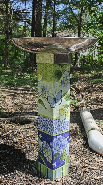 "Studio-M Art Pole Birdbath ""Butterfly Haven"""