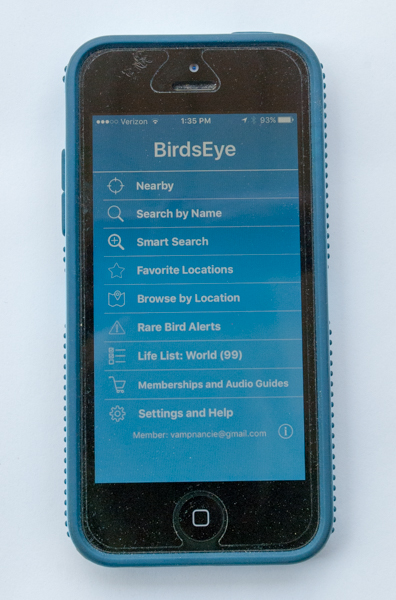 BirdsEye birding app Start Screen