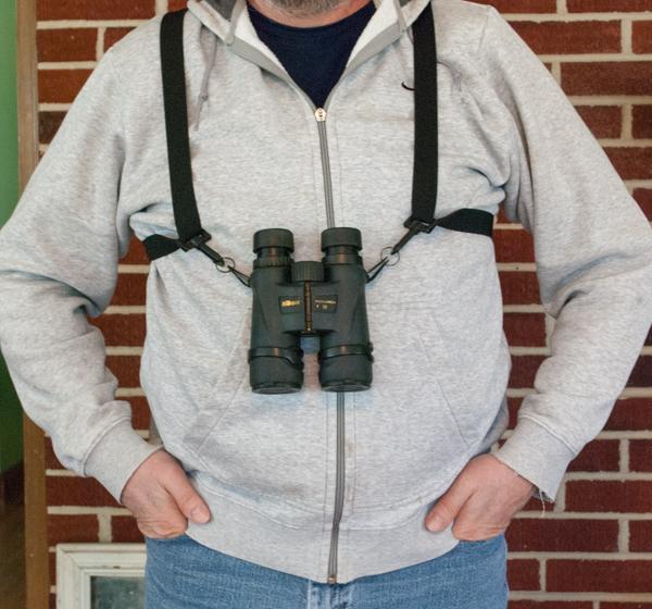 Vortex Optics Binoculars Harness Front View Holding Nikon Monarch 5 Binoculars