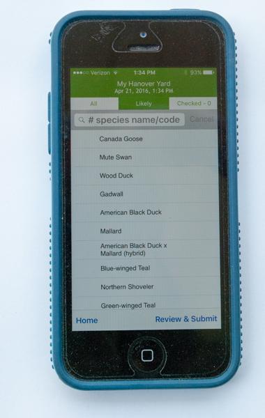 eBird App Birds List Screen