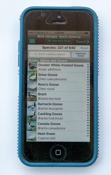 iBird Ultimate App Bird List Screen