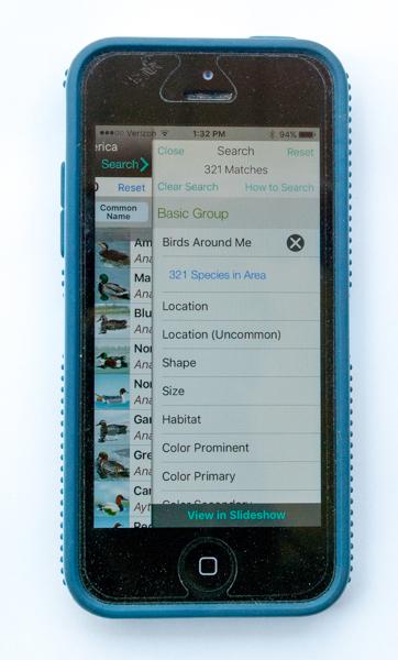 iBird Ultimate App Filter Screen