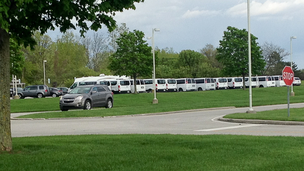 Vans lined up at Maumee Bay Lodge for the Biggest Week in American Birdings' many birding trips