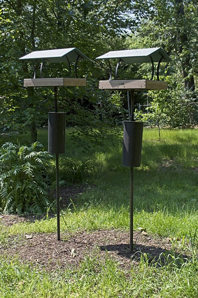 These Platform Feeders Are Mounted on Poles With a Deep Ground Anchor So They Stay Straight
